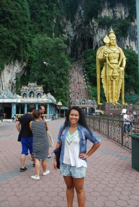 Lord Murugan in the background of the caves! He was like 6 stories tall!