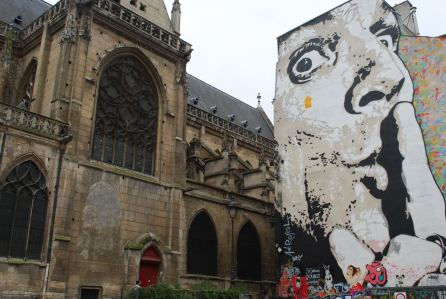 More cool street art next to a cathedral in Saint Michelle