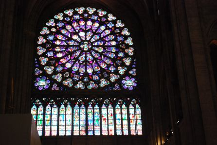 One of many epic stained glass windows in The Notre Dame... A Rose window, to be specific